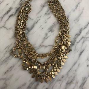 Stella & Dot Gold Convertible Statement Necklace